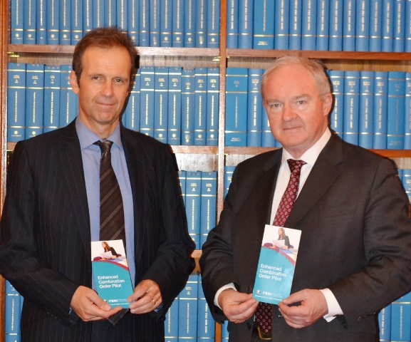 Picture: Deputy Director of the Probation Board for Northern Ireland, Paul Doran (left) introduces Lord Chief Justice, Sir Declan Morgan to the information leaflet about the new Enhanced Combination Order which will be offered to sentencers from this week.