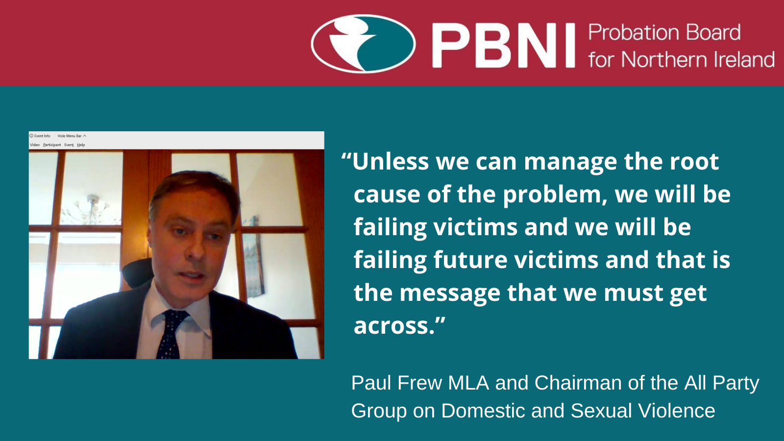 Paul Frew MLA, Chairman of the All Party Group on Domestic and Sexual Violence said